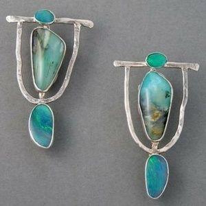 Zen Tibet Silver and Turquoise Drop Earrings NEW